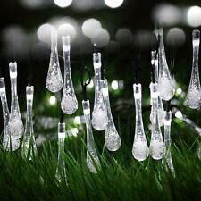 White Garden Solar Outdoor String Lights 20ft 30 LED Water Drop Fairy Waterproof