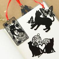 2Pcs Black Cat Metal Hollow Bookmark Holder Paper Marker Stationery Supplies I1