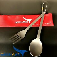 Pure titanium Spoon Fork Knife 2in1 Backpacking Camping Hiking with 210T Bag