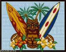 Surfing Tiki Coconuts Surf Boards Palms Design by Shan Vinyl Sticker Rare & OOP