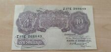 More details for bank of england 10 shillings emergency issue mauve 1940 banknote z57e 268649