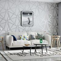 3D Fashion Geometric Wall Paper Modern Design Silver Stripe Pattern Gray