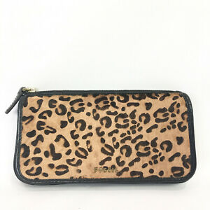 Fossil Memoir Leopard Print Wallet Black Leather Hair Fur Bi Fold SL4320 Clutch