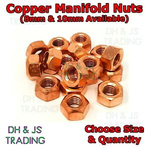 Copper Flashed Exhaust Manifold Nuts - Metric Pitch High Temperature M8 M10 Nut