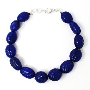 """155.00 Cts Earth Mined 7"""" Sapphire Oval Shape Carved Beads Bracelet NK-01E265"""