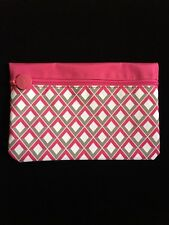 Ipsy Glam Cosmetic Makeup Travel Bag Pouch Pink White Grey Diamond February 2015