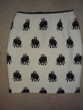 Cute Willa Boutique Pencil Skirt, White Elephant Print, Work Career Sz S