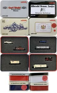MARKLIN Z SCALE  S267-S285-S295-S399 - 4 Collector Freight Cars - C10 Tin Boxes