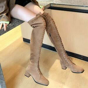Women's Suede Lace Up Square Toe Over The Knee Thigh High Chunky Heel Punk Boots
