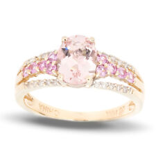Peach Morganite Pink Sapphire and diamond Ring in 14k Gold Size 7 - 1.50TCW