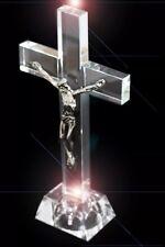 Jesus Christ Crucifix Cross LED Light blink Crystal Glass Christian & Gift Box