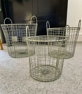 Vintage Style Wire Storage Basket Tall Round Light Grey with Handles Hamper