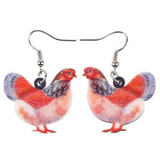 BONSNY Acrylic Pattern Drop Dangle Farm Animal Hen Chicken Charm Earrings