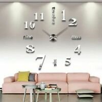 Modern DIY Large Wall Clock Art Design 3D Mirror Surface Sticker Home Decor