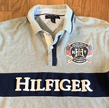 Tommy Hilfiger Mens Gray Spellout Short Sleeve Casual Golf Polo Shirt Size Xl