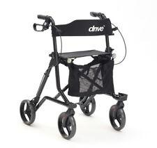 Drive Torro Rollator Walking Frame With Seat, Backrest, Bag & Cane Holder Black