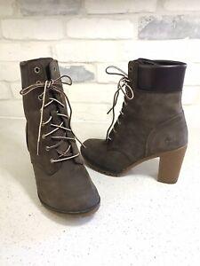 "NEW Timberland Glancy 6"" Lace Up High Heel Combat Boot bootie brown US 8 EU 39"