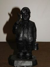 """Vintage 7 1/2"""" High Handcrafted Out Of Coal Coal Miner With Lantern & Pick Axe"""
