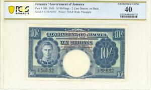 Jamaica 10 Shillings Currency Banknote 1940 PCGS 40 XF