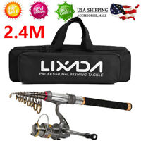 Fishing Rod Reel Combo Carbon Telescopic Pole Spinning Reels Carrier Bag US I5Q6