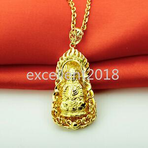 Goddess Mercy GuanYin Kwan-yin Pendant Necklace Buddha Chinese God Chain Jewelry