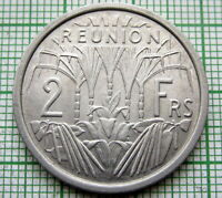 REUNION FRENCH COLONIAL 1973 2 FRANCS, ALUMINIUM UNC