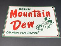 "VINTAGE DRINK MOUNTAIN DEW HILLBILLY 12"" PORCELAIN METAL SODA POP GAS & OIL SIGN"