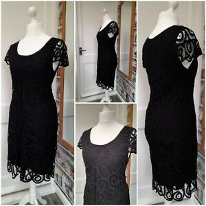 Phase Eight Black Lace Cocktail Cruise Dress Size 14