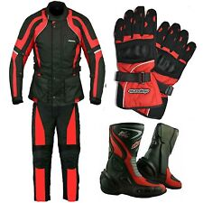 RKSports Com Motorbike Waterproof Red Suit Gloves Boots Trousers Jacket CE Mens
