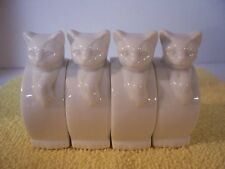 Lot of 4 White Ceramic Kitty Cat Napkin Ring Holders Crowning Touch