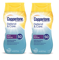 Coppertone Defend and Care Ultra Hydrate Sunscreen Lotion, SPF 50, 6 Oz (2 Pack)