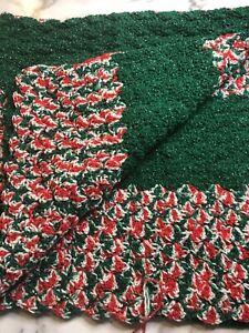 "Handmade Crochet Afghan Throw Lap Blanket 46""X 43"" Christmas Green White Red"