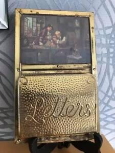 """Vintage brass & wood letter rack/holder - wall mount """"Clockmaker"""""""