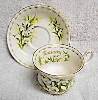 Royal Albert Flower of the Month January Green And White  Cup and Saucer 1970