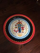 "Vintage Pennsylvania Dutch Serving Tray 19"" Platter Red Black Hearts Tin Round"