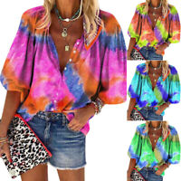 Plus Size Women's Tie Dye 3/4 Sleeve Blouse Tops Loose Casual Button Down Shirts