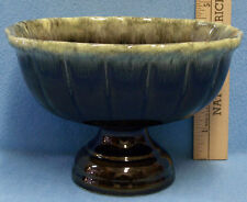 Vintage Hull Pedestal Vase With Green Drip Design Mirror F22 Made in USA