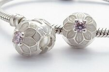 DAHLIA FLOWER CLIP CHARM Bead Sterling Silver.925 for European Bracelet 642