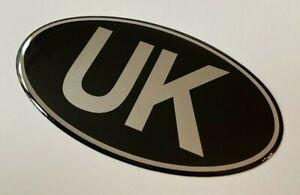 UK Oval 75mm x 43mm Sticker/Decal - Retro - CHROME on BLACK- GLOSS DOMED GEL