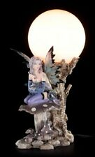 Elfen Tischlampe - Indis mit Drachenbaby auf Pilz - Fantasy Nachttischlampe Deko