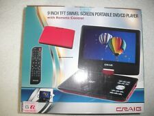 "9"" CRAIG CTFT713 180° SWIVELSCREEN PORTABLE DVD PLAYER, REMOTE & MORE NEW RED!!!"