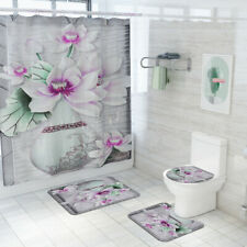 Flower Bathroom Rug Set Shower Curtain Bath Mat Non-Slip Toilet Lid Cover