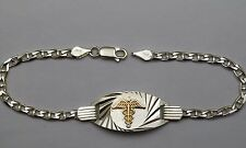 silver and gold medical alert bracelet