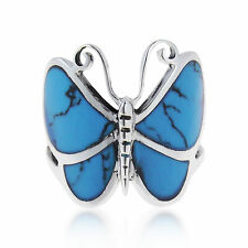 Big Blue Turquoise  Butterfly .925 Silver Ring-9
