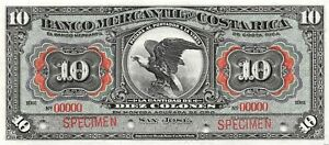 Costa Rica 10  Colones  ND. 1910  S 202s  Series  -  Rare  Uncirculated Banknote