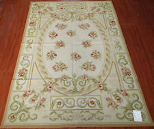 Beautiful Wool Handmade Needlepoint Area Rug French Chic Shabby Aubusson Design