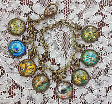 ANTIQUE PEACOCK BIRD BUTTONS Altered Art Glass Dome BRACELET From VINTAGE IMAGES