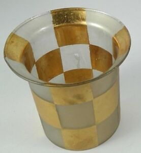 """Zodax candle holder frosted glass gold tone checkerboard pattern 4.25"""" tall 3""""D"""