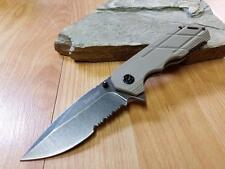 Kershaw Tan Assisted Open Half Serrated Folding Knife Pocket 3Cr13 EDC 1336BR