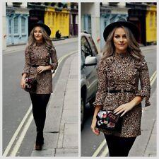 Topshop Blogger Leopard Print Ruffle Frill Mini Dress - Size 6